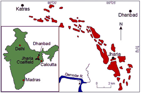 Map of Dhanbad - Jharia coal mining area
